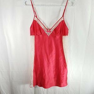 Victorias Secret Chemise Lengerie Red Satin Strap
